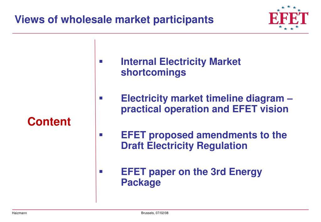 Views of wholesale market participants