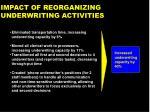 impact of reorganizing underwriting activities