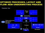 optimize processes layout amd flow new underwriting process