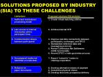solutions proposed by industry sia to these challenges