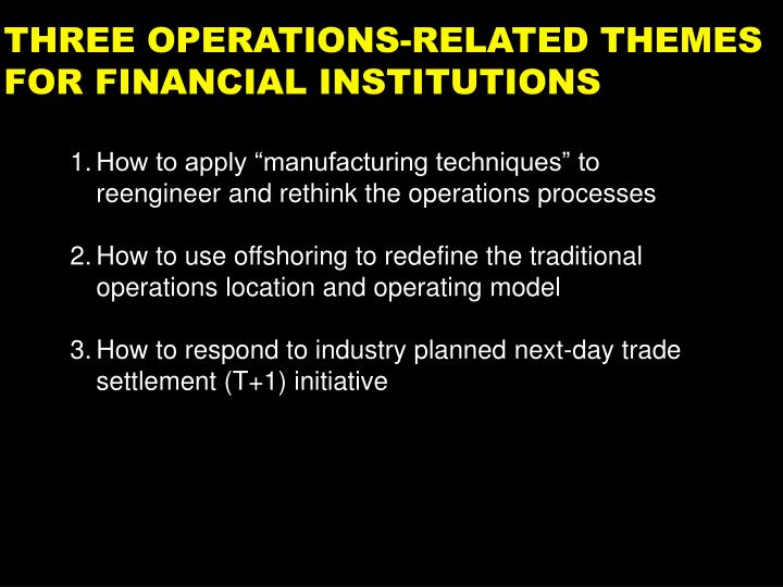 Three operations related themes for financial institutions