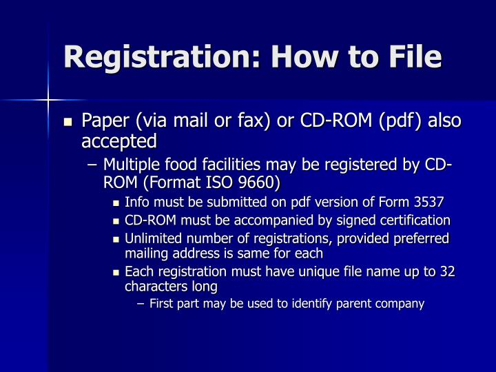 Registration: How to File