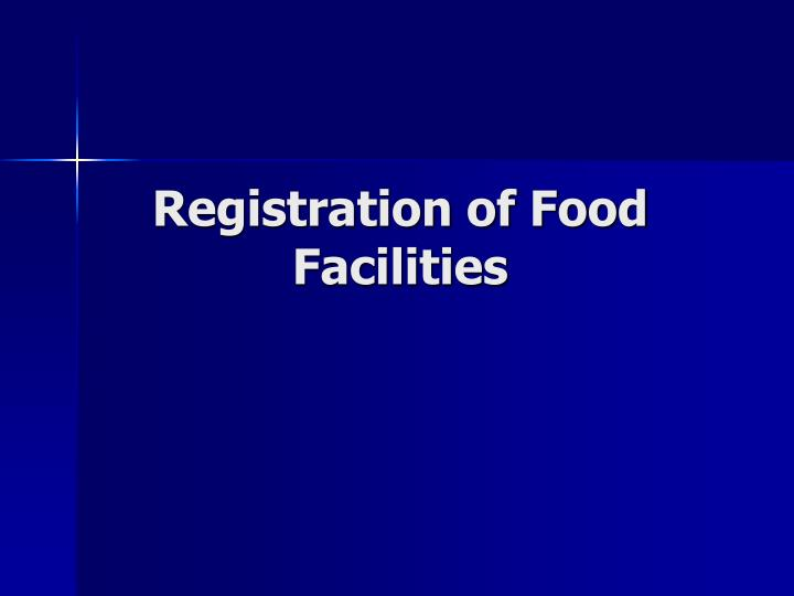 Registration of Food Facilities