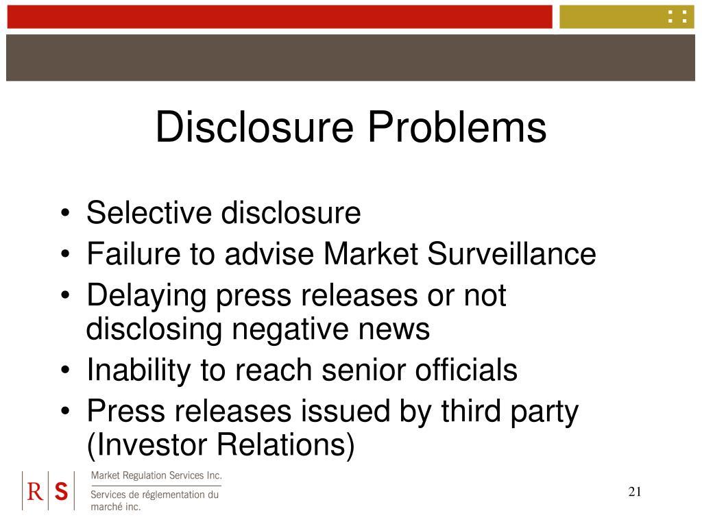 Disclosure Problems