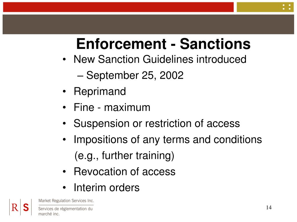 Enforcement - Sanctions
