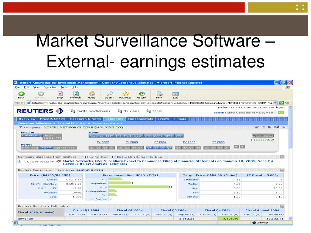 Market Surveillance Software – External- earnings estimates