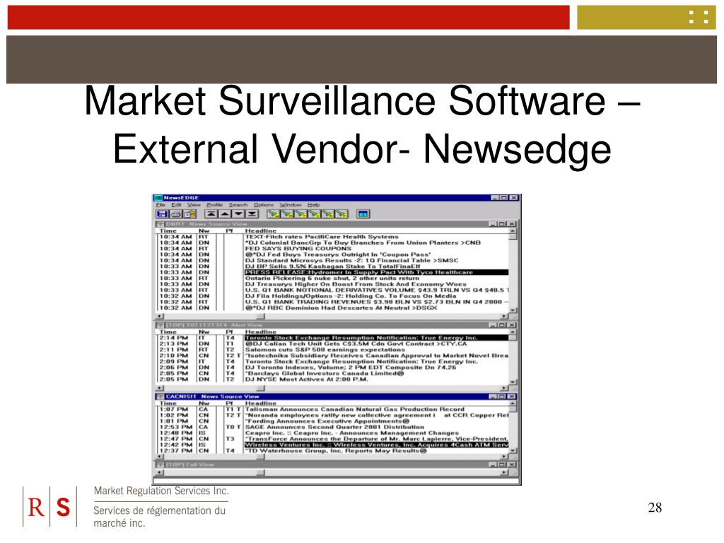 Market Surveillance Software – External Vendor- Newsedge