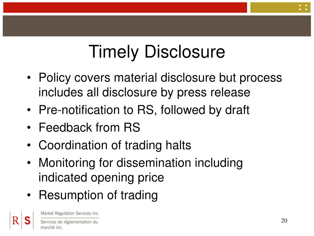Timely Disclosure