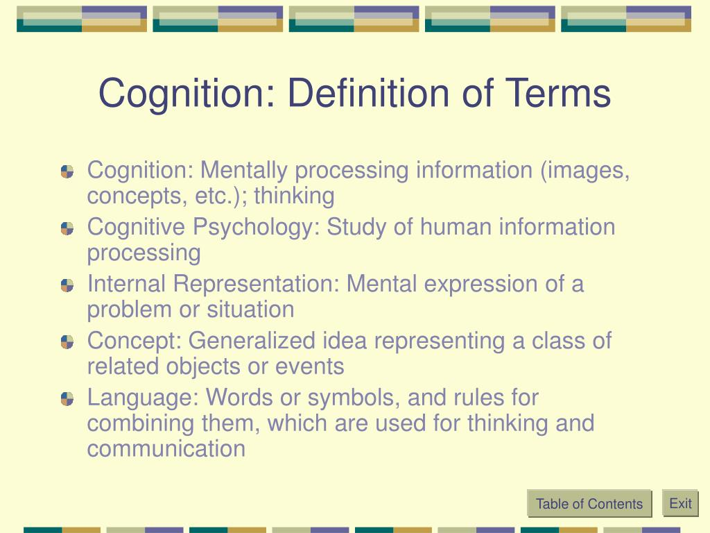 Cognition: Definition of Terms
