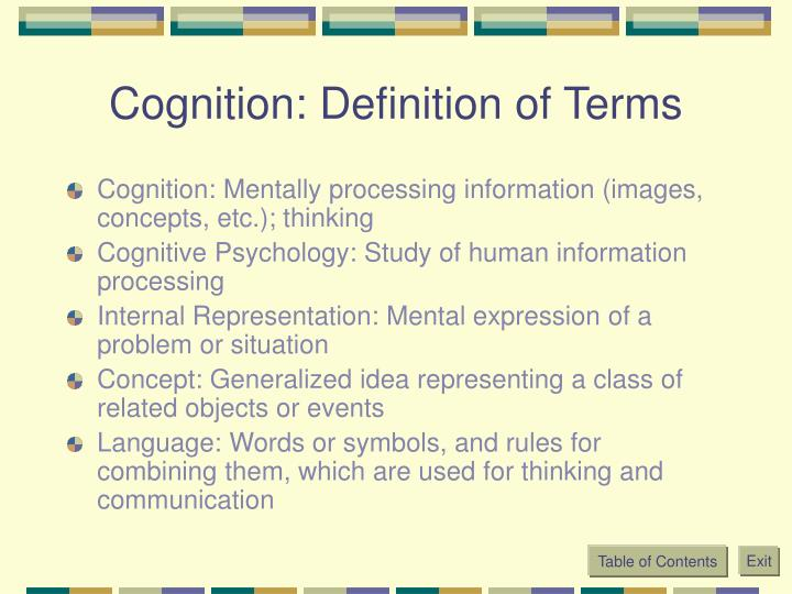 Cognition definition of terms