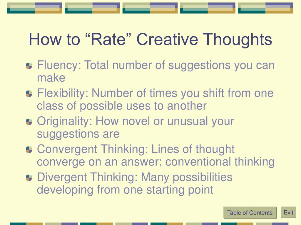 "How to ""Rate"" Creative Thoughts"