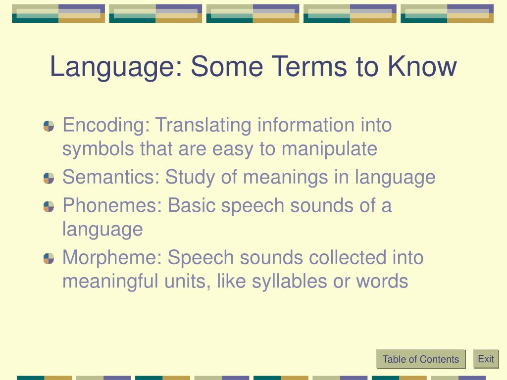 Language: Some Terms to Know