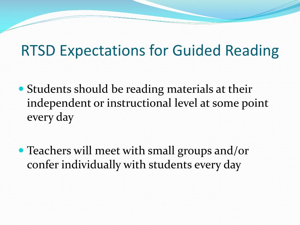 RTSD Expectations for Guided Reading