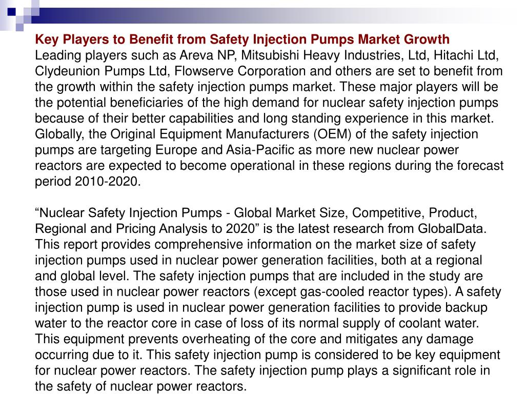 Key Players to Benefit from Safety Injection Pumps Market Growth
