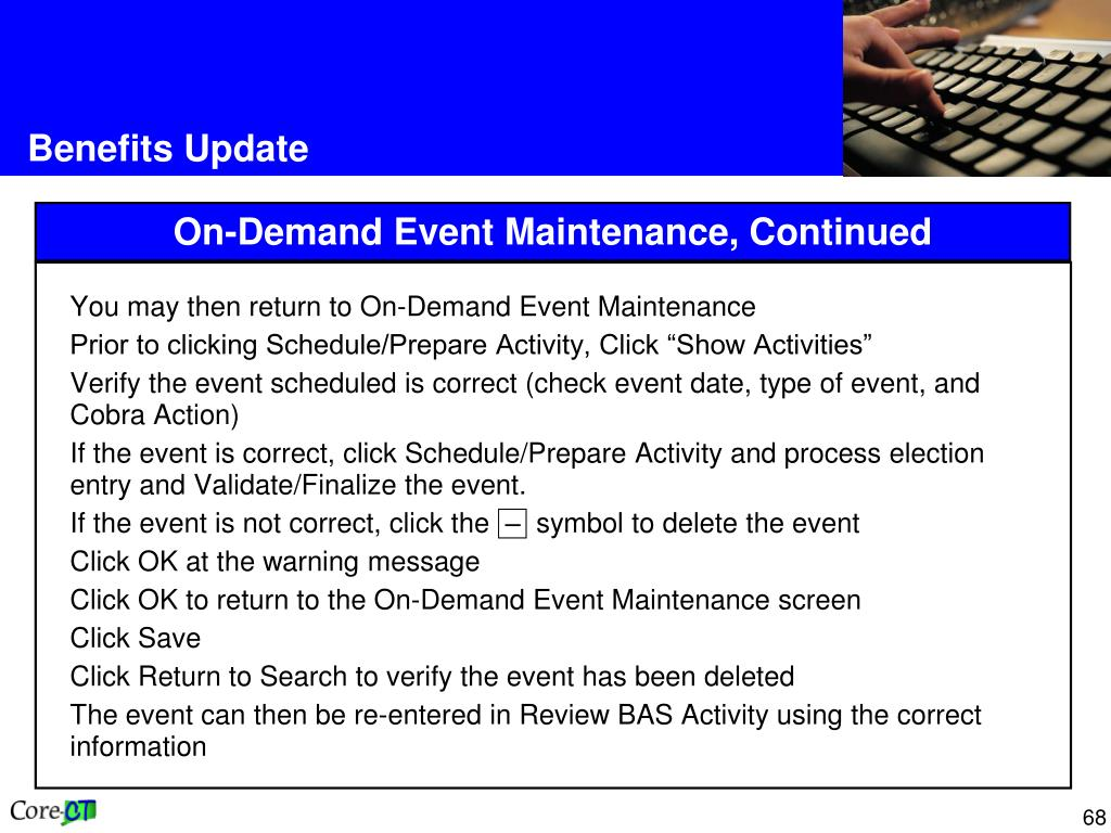 You may then return to On-Demand Event Maintenance