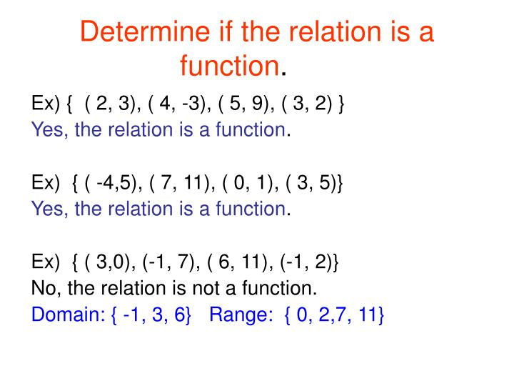 Determine if the relation is a function