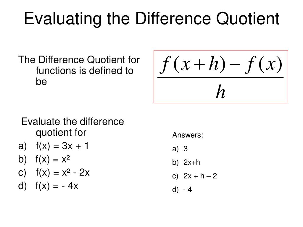 Evaluating the Difference Quotient