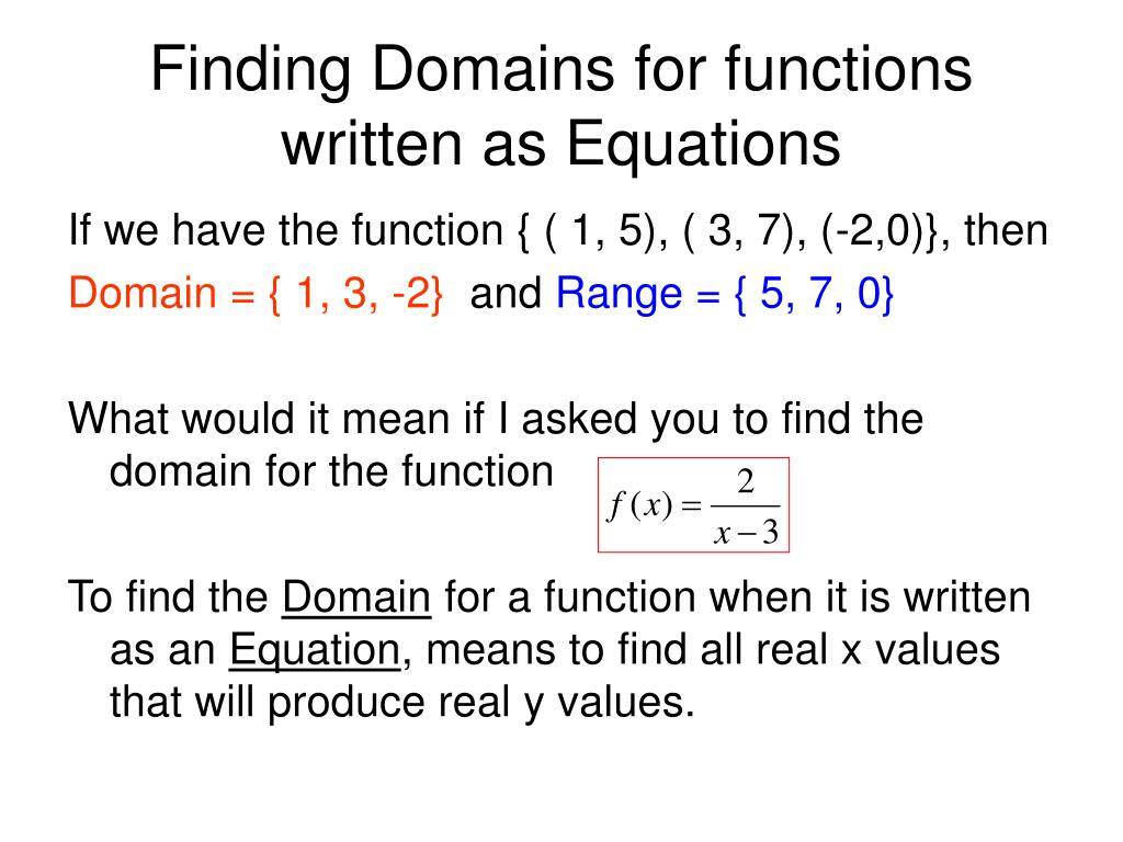 Finding Domains for functions written as Equations
