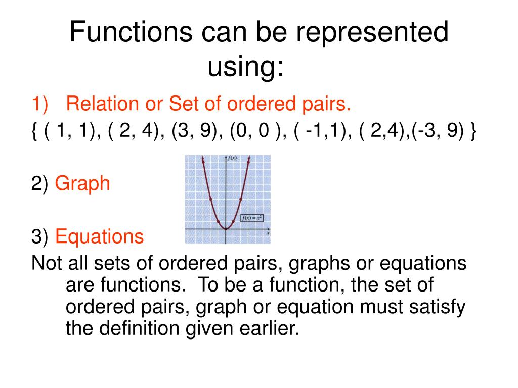 Functions can be represented using:
