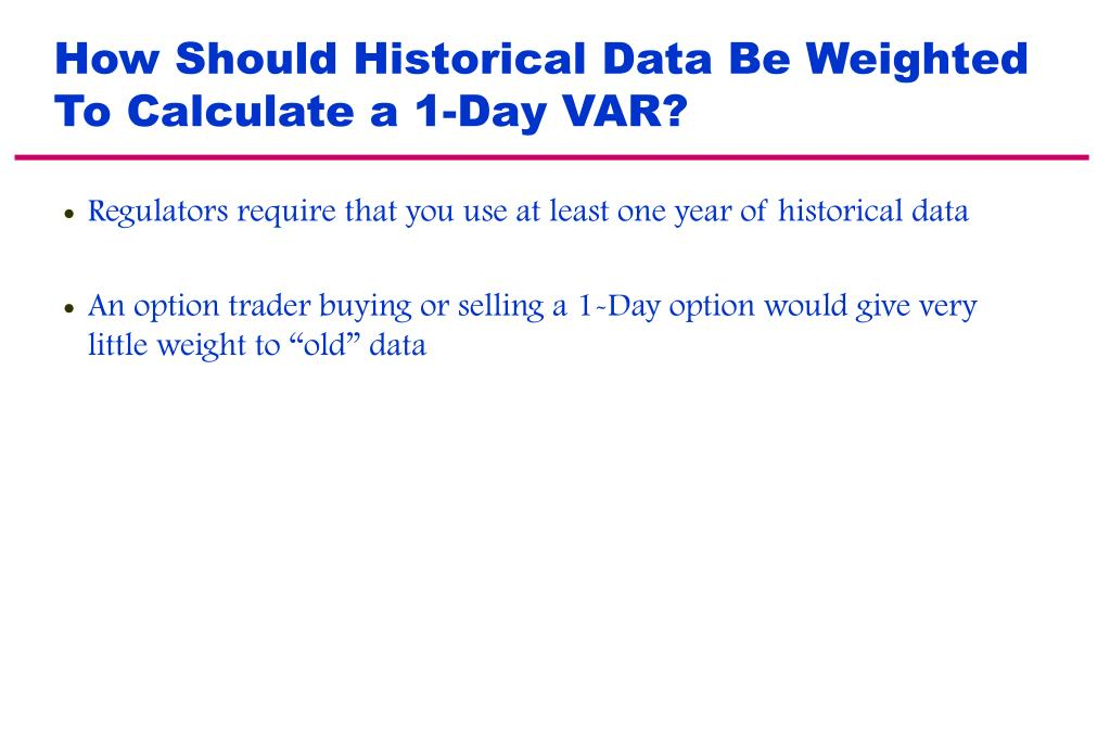 How Should Historical Data Be Weighted To Calculate a 1-Day VAR?