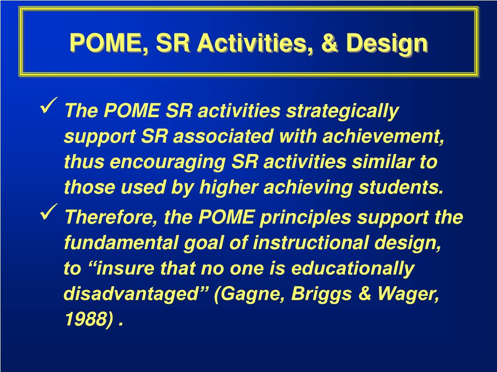 POME, SR Activities, & Design