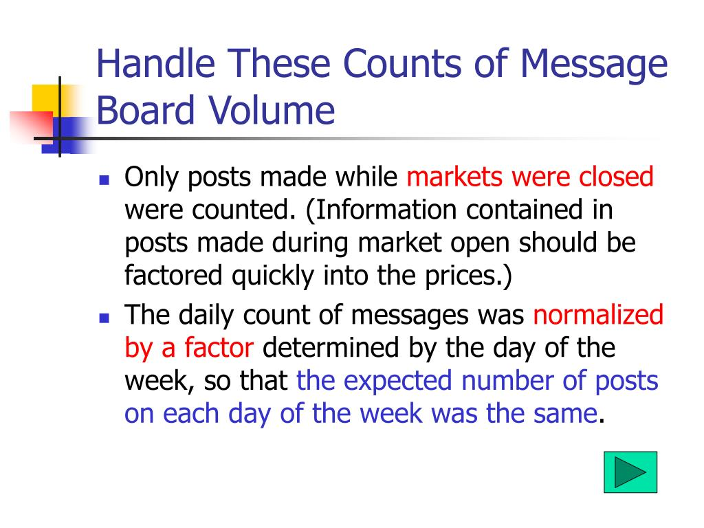 Handle These Counts of Message Board Volume