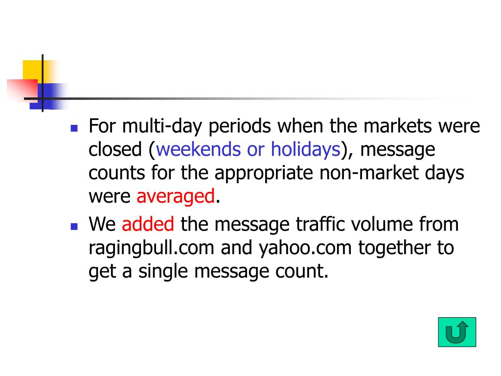 For multi-day periods when the markets were closed (