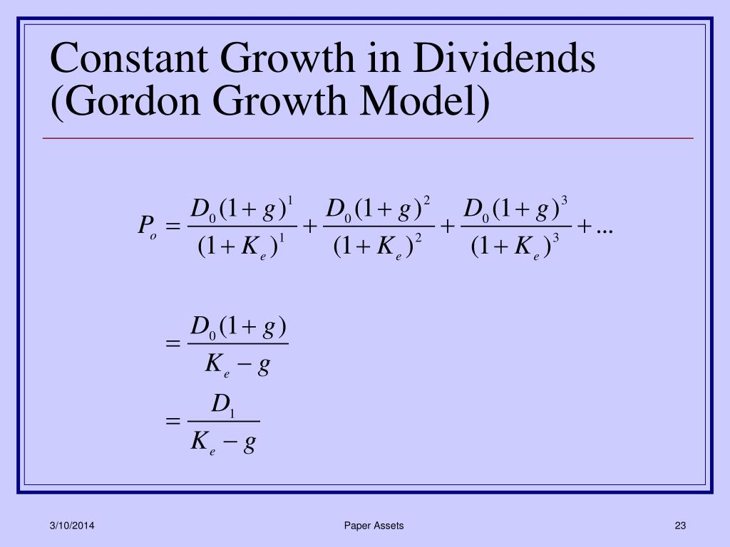 Constant Growth in Dividends