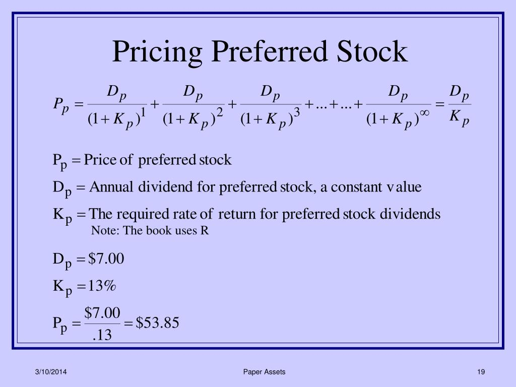 Pricing Preferred Stock