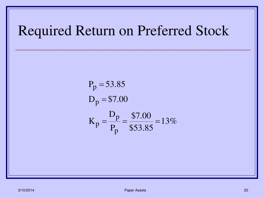 Required Return on Preferred Stock