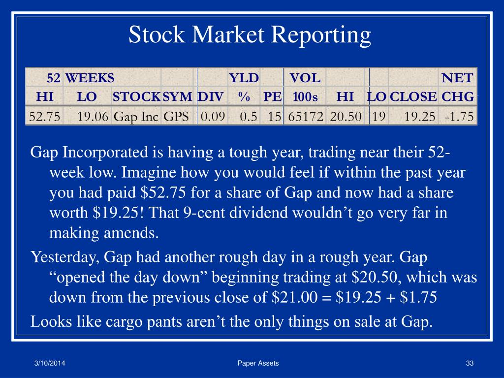 Stock Market Reporting