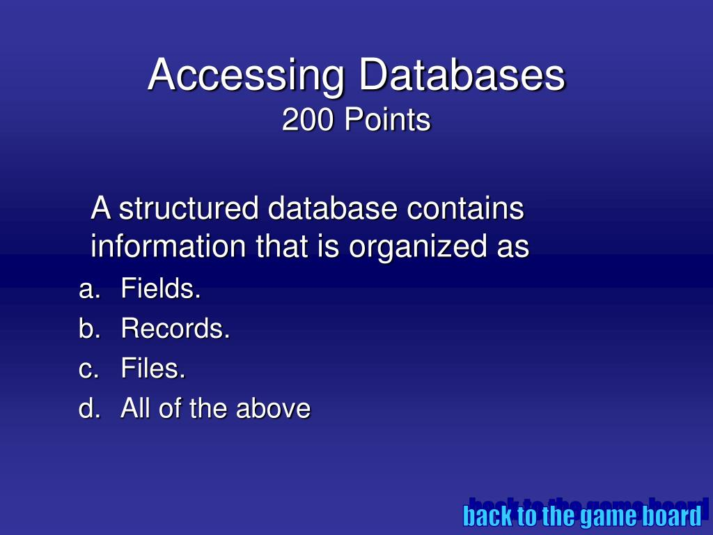 Accessing Databases