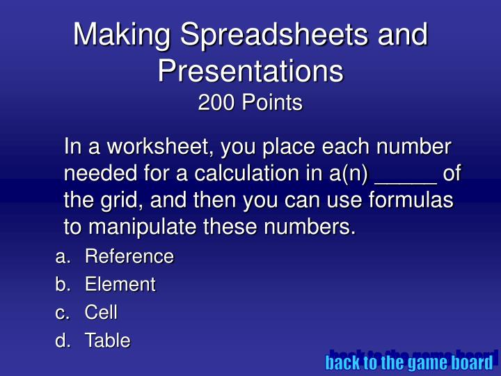 Making spreadsheets and presentations 200 points