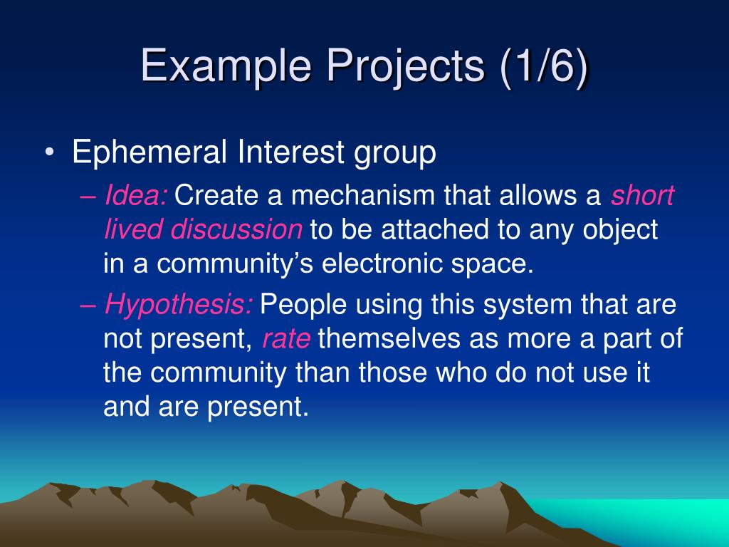 Example Projects (1/6)