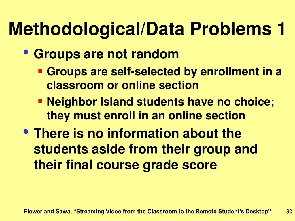 Methodological/Data Problems 1