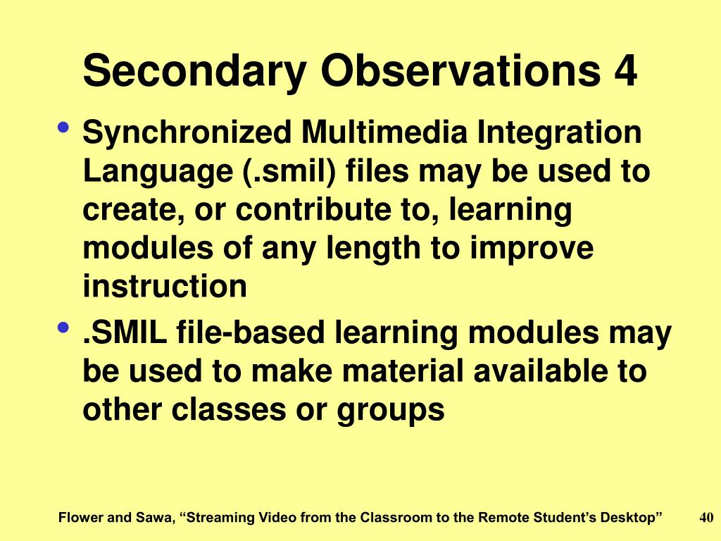 Secondary Observations 4