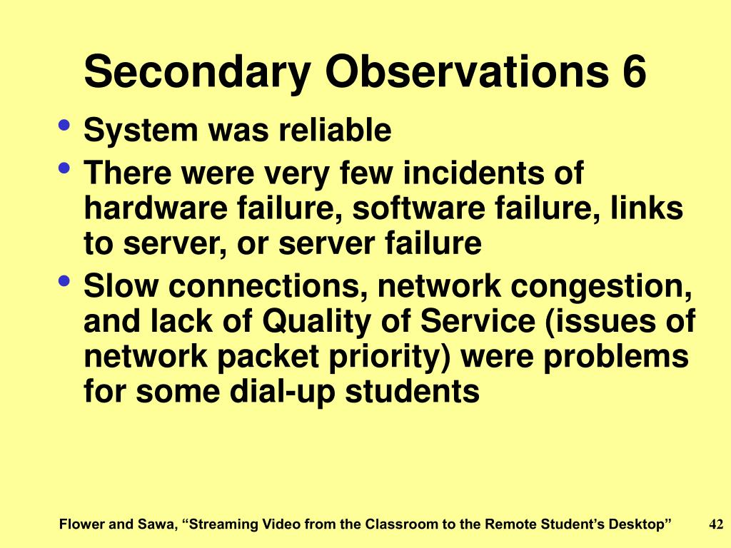 Secondary Observations 6