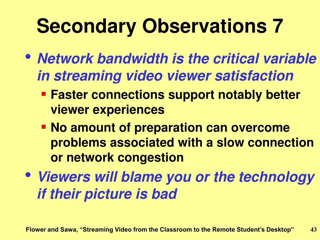 Secondary Observations 7