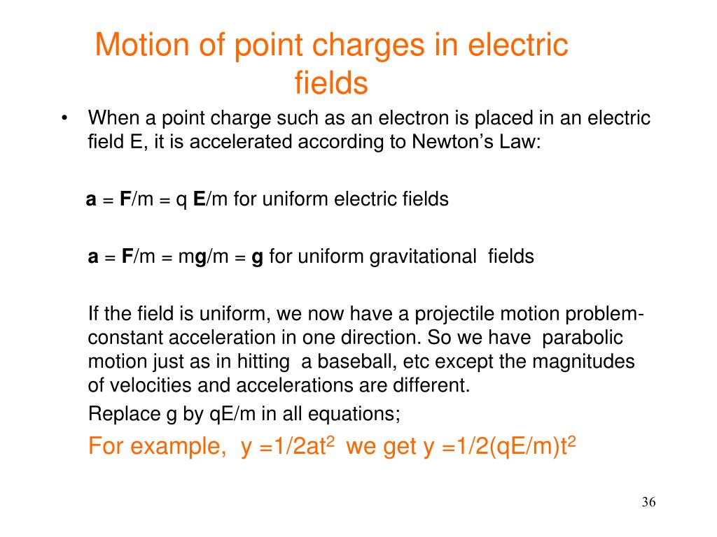 Motion of point charges in electric fields