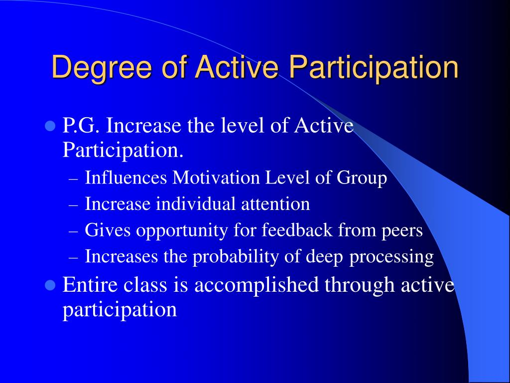 Degree of Active Participation