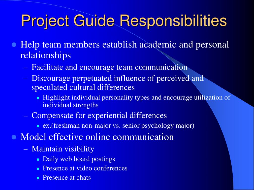 Project Guide Responsibilities