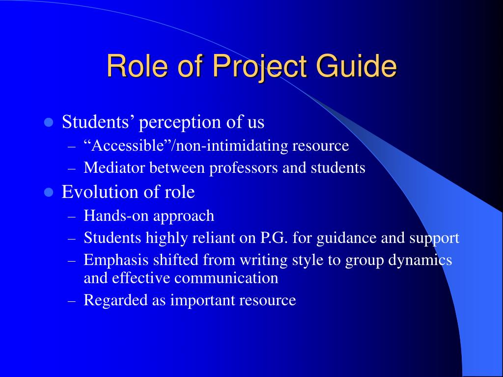 Role of Project Guide