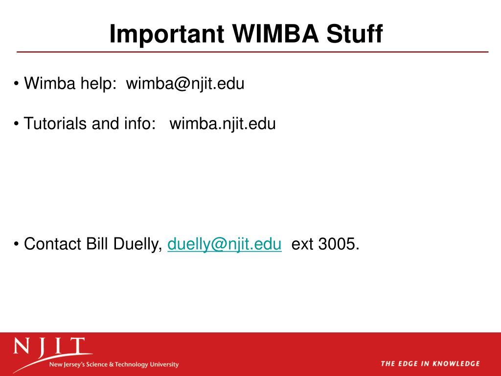 Important WIMBA Stuff