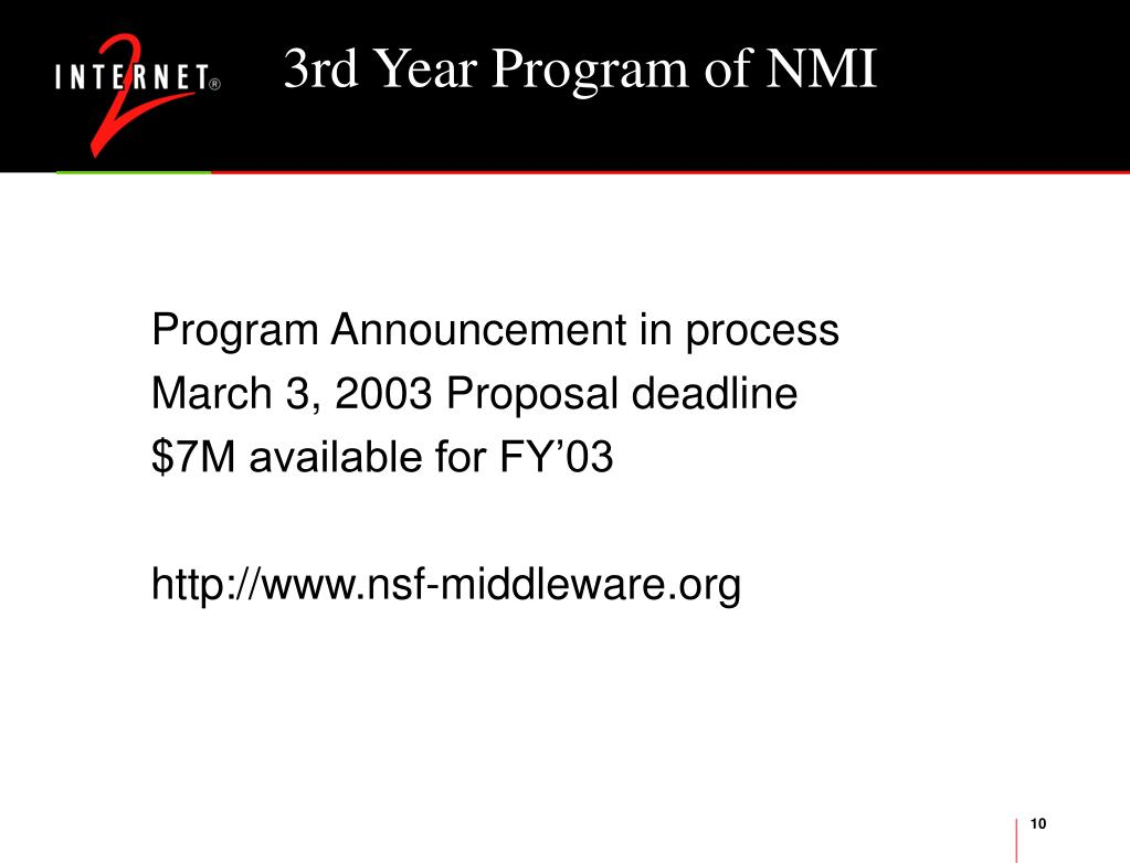 3rd Year Program of NMI