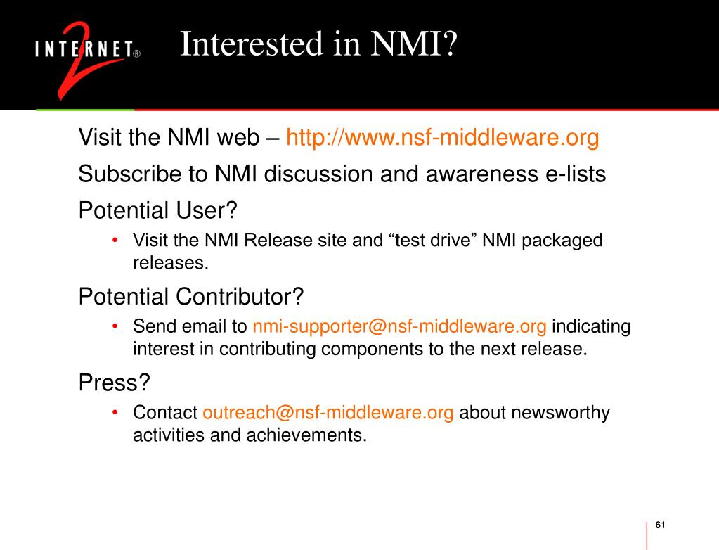 Interested in NMI?