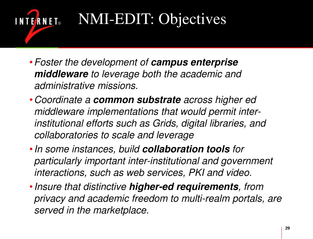 NMI-EDIT: Objectives