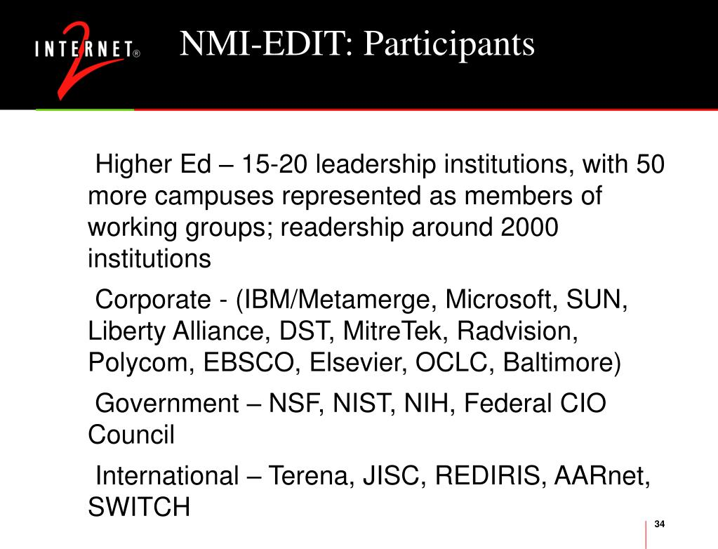 NMI-EDIT: Participants