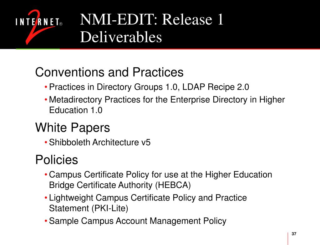 NMI-EDIT: Release 1 Deliverables