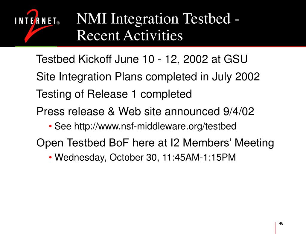 NMI Integration Testbed -