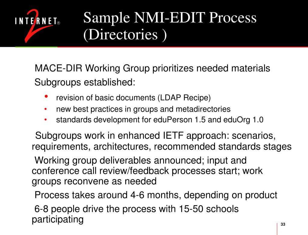 Sample NMI-EDIT Process